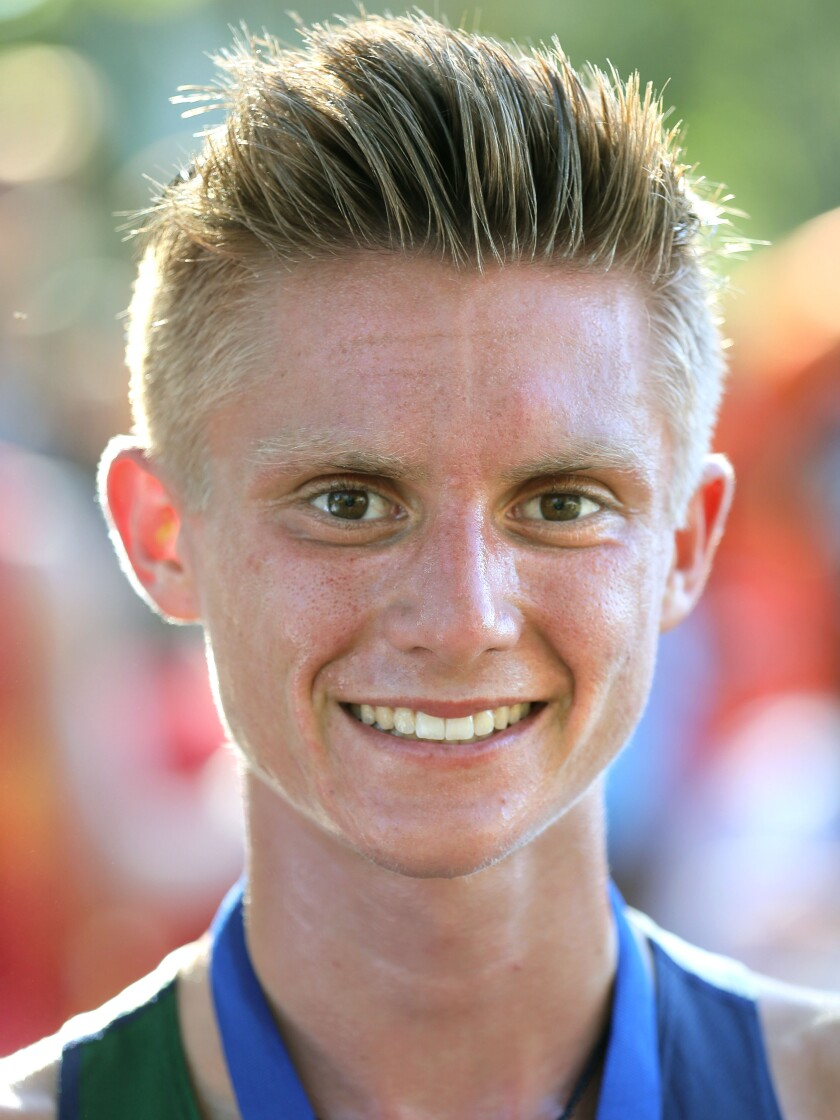 Caleb Niednagel, of La Costa Canyon. He won the Boys Division 1 race at the Bronco Invitational cross country meet at Kit Carson Park.