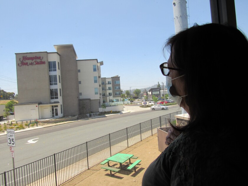 Crisis House Executive Director Mary Case looks out her office window at the Hampton Inn & Suites across the street.