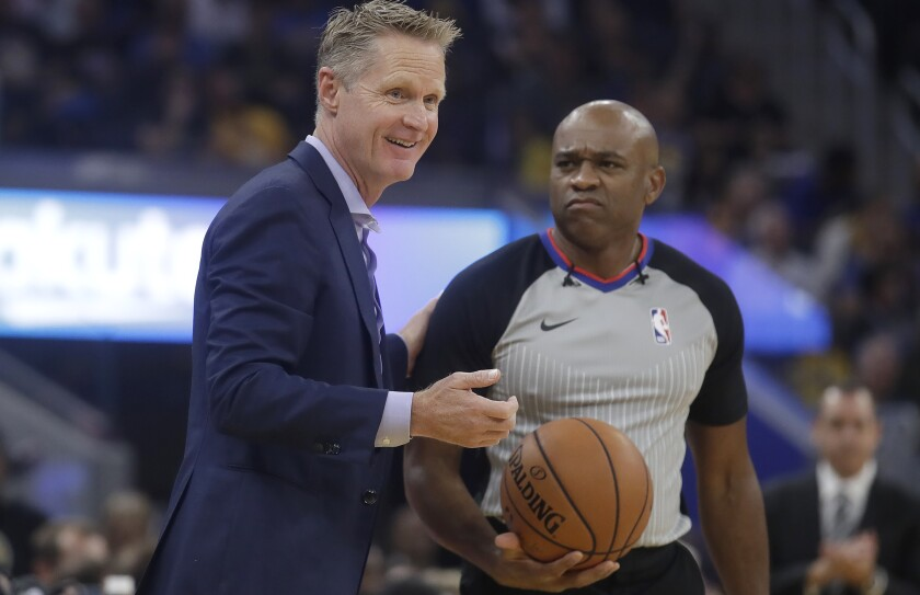 Warriors coach Steve Kerr is all smiles during a preseason game