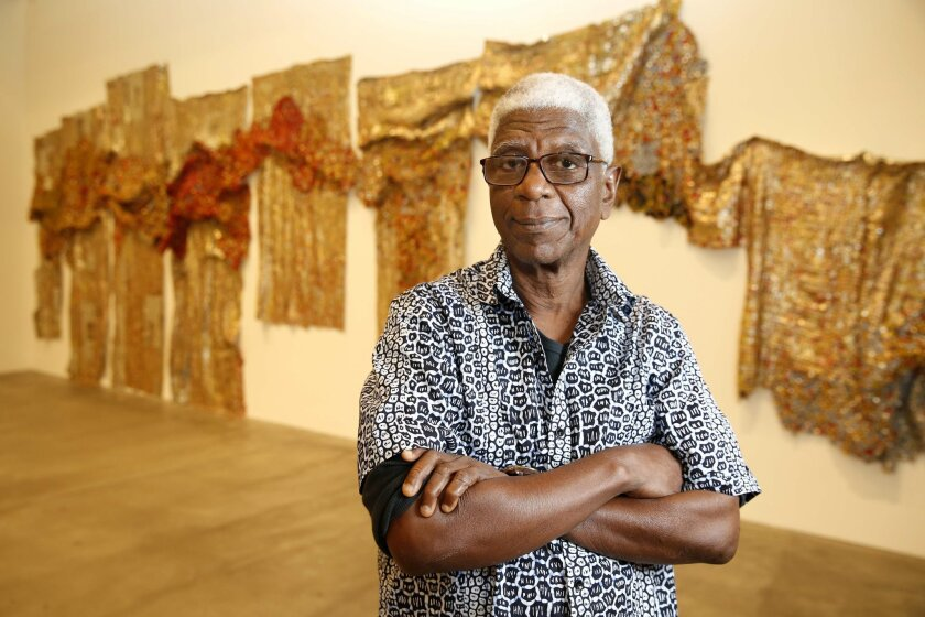 El Anatsui at the Museum of Contemporary Art San Diego. Photo: Nancee E. Lewis