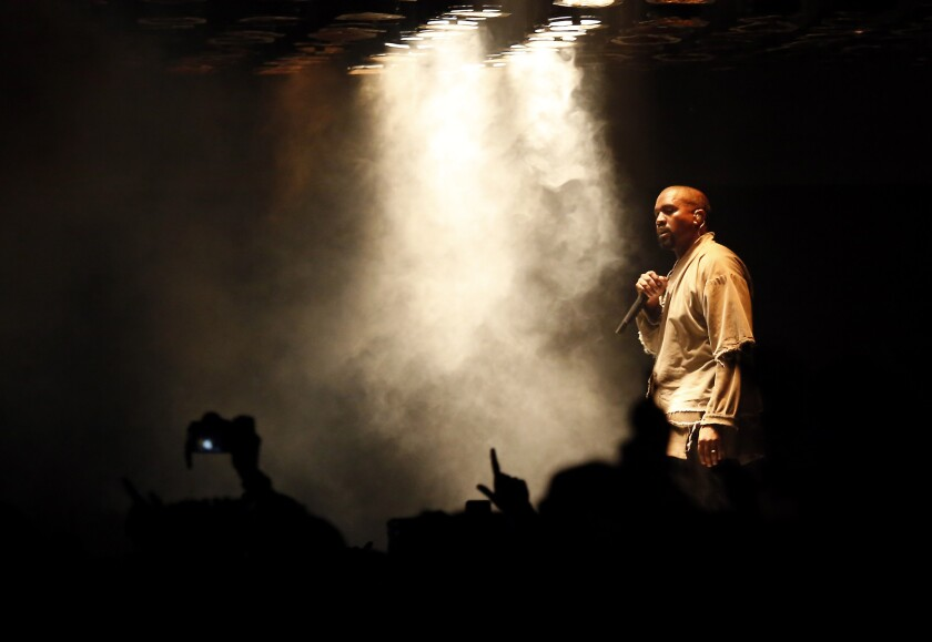 Kanye West performs during FYF Fest on Aug. 22.