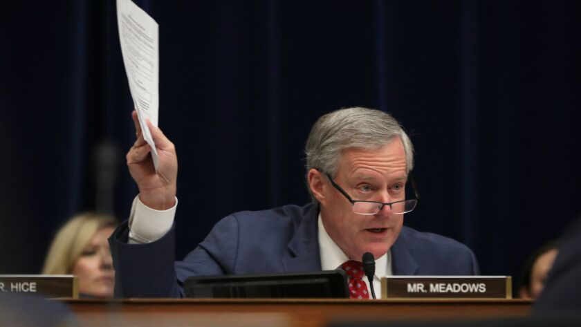 Rep. Mark Meadows (R-N.C.) questions Michael Cohen on Wednesday.