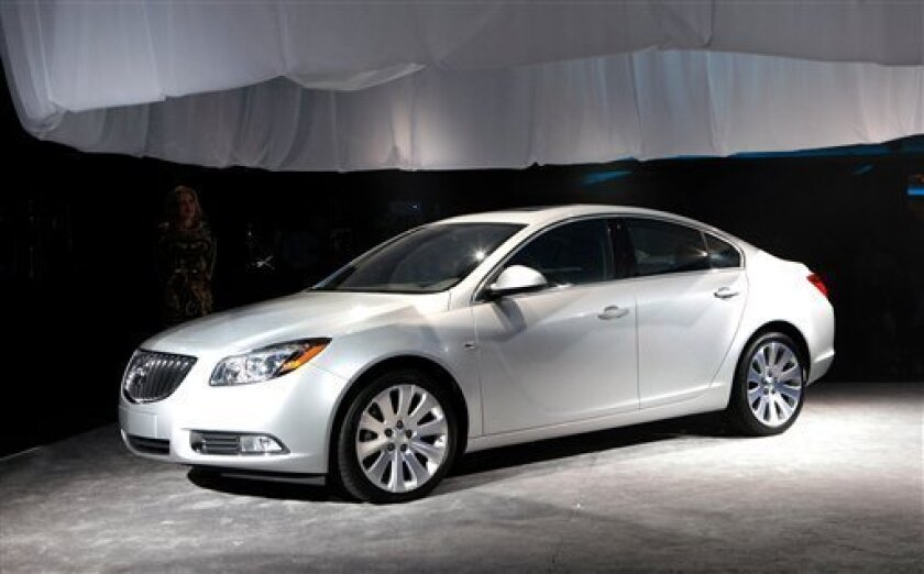FILE - This Thursday, Nov. 12, 2009 picture shows the 2011 Buick Regal unveiled during an event in Los Angeles, Calif. (AP Photo/General Motors)