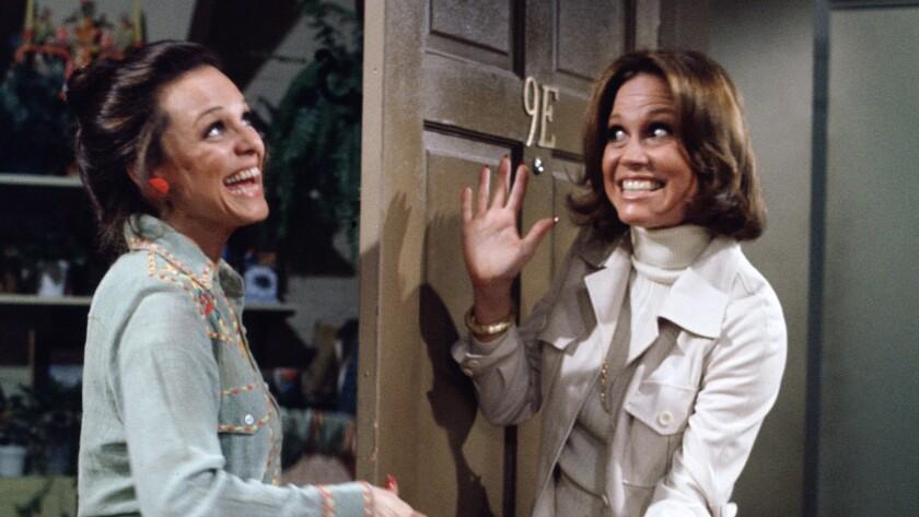 """Valerie Harper, left, greets Mary Tyler Moore at the door on """"Rhoda."""""""