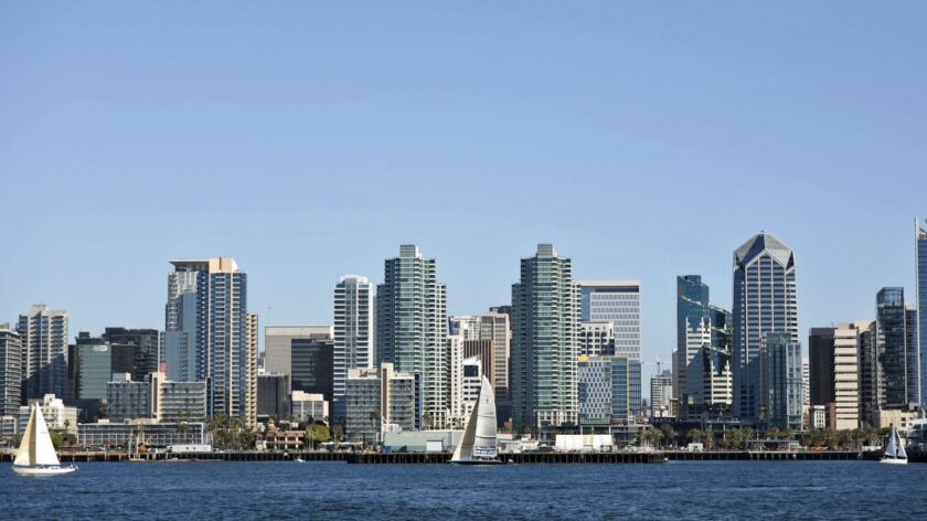 SAN DIEGO - SATURDAY, JANUARY 19, 2019: Downtown San Diego from aboard Hornblower's Whale Watching C