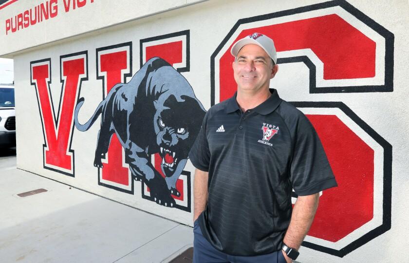 Portrait of incoming Vista High School Principal David Jaffe on the campus.