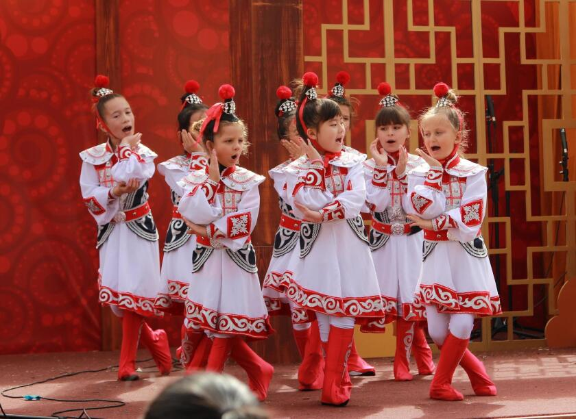 The Barnard Mandarin Magnet Elementary School Performing Arts Group made its debut during the 2018 Chinese New Year holiday. The troupe, made up of 23 students from grades 1-5, performed at five venues throughout San Diego. Pictured onstage at SeaWorld, they tell the story of 'Mulan,' a Chinese girl who disguises herself as a man in order to train as a fierce warrior. Their performance included recitation of ancient Chinese poetry, martial arts-inspired dance and Chinese song. — sandiegounified.org/barnard
