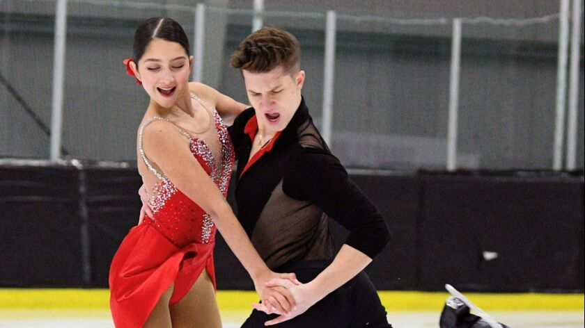 Glendale resident Ella Ales, 17, and partner Daniel Tsarik are preparing for the U.S. Figure Skating Championships. Ales had difficulty balancing school work and training until she enrolled in California Connections Academy @ Capistrano, a virtual K-12 public school.