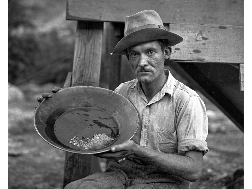 September 1932: Charles T. Brown, a gold miner in San Gabriel Canyon, displays about $55 in gold in a pan.
