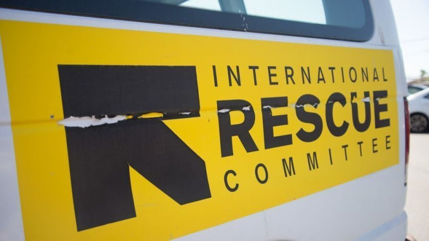 A van parked out the International Rescue Committee in San Diego.