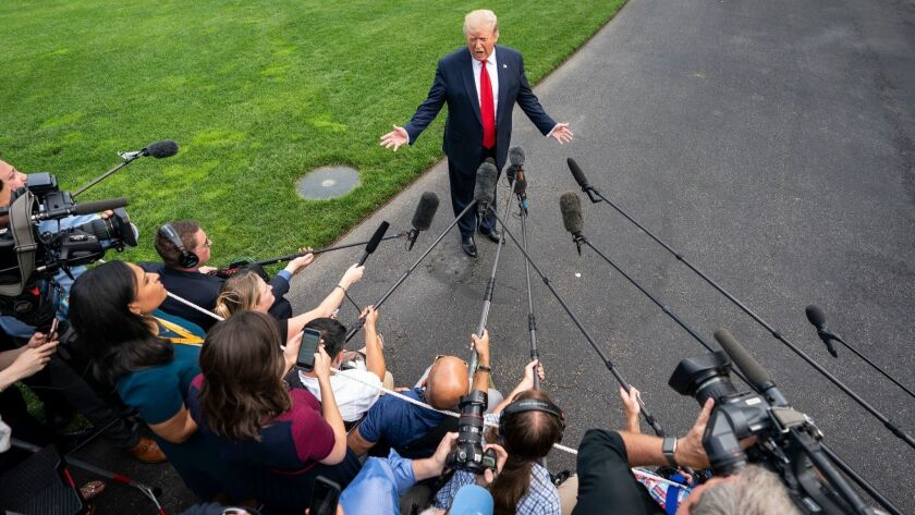 US President Donald Trump speaks on Patrick Shanahan from White House before travelling to Orlando to launch his 2020 re-election campaign, Washington, USA - 18 Jun 2019