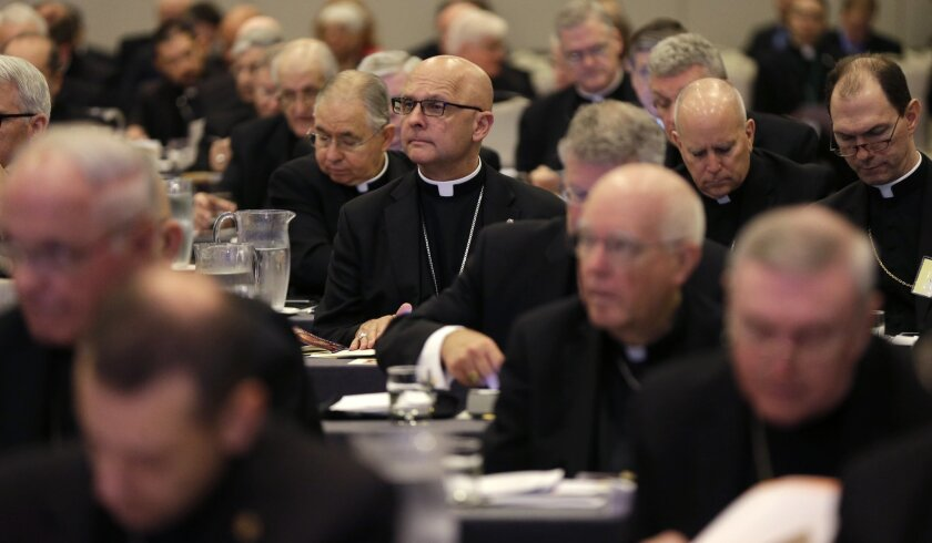 Participants listen during the morning general session at the United States Conference of Catholic Bishops in New Orleans, Wednesday, June 11, 2014. The nation's Roman Catholic bishops are holding their mid-year meeting as they wrestle with the new agenda set by Pope Francis to make compassion a priority over hot-button issues such as abortion. (AP Photo/Gerald Herbert)