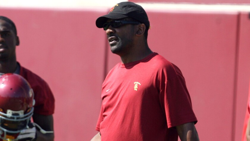 Then-USC Trojans running back coach Todd McNair during practice in 2009.