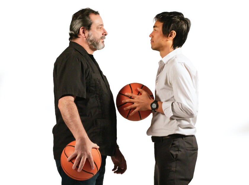 """Manny Fernandes (left) and Edward Chen play opposing coaches in """"The Great Leap."""""""