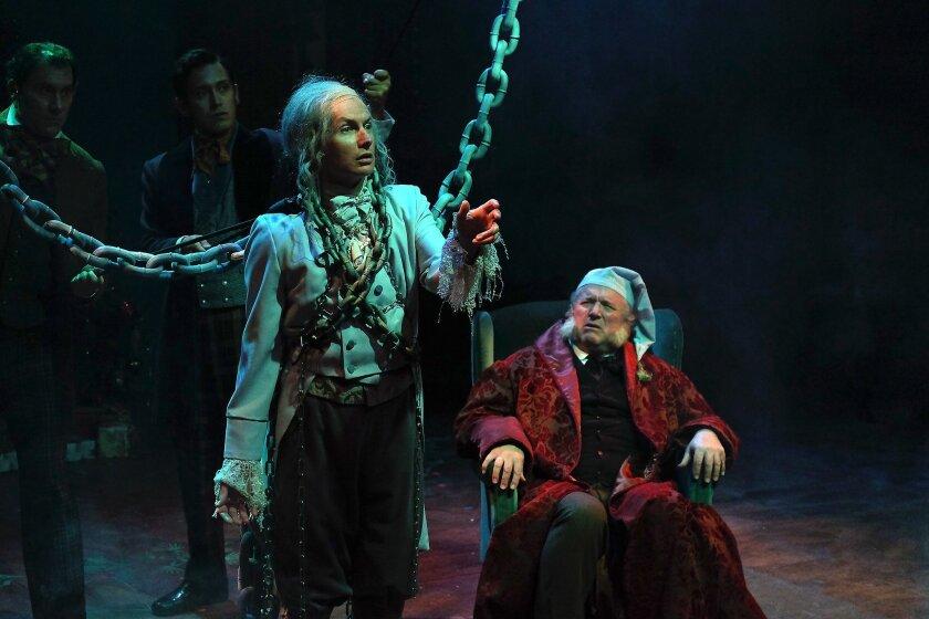 "David McBean (left) and Tom Stephenson in Cygnet Theatre's ""A Christmas Carol."""