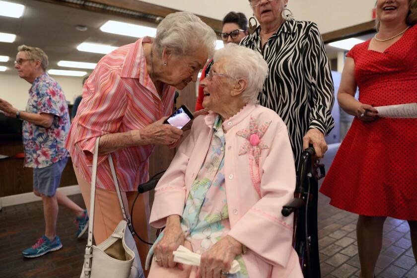 RIDGECREST, CALIF. -- TUESDAY, JUNE 4, 2019: Irene Ekkens, 94, left, greets friend Opal Goode at her