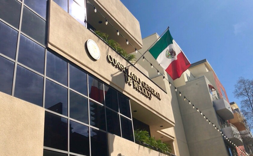 View of the exterior of the Mexican Consulate in San Diego located at 1549 India Street.