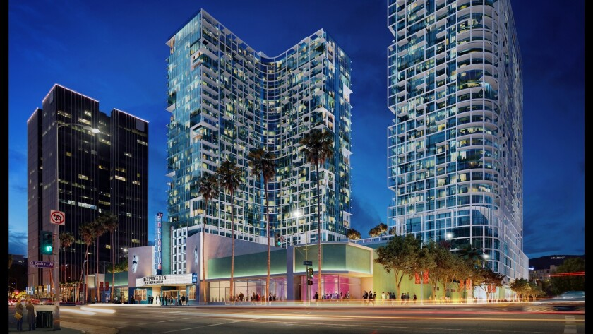 A rendering of the Palladium Residences, a pair of towers that are planned for construction in Hollywood.