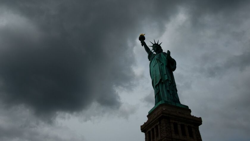 """The Statue of Liberty famously asks, """"Give me your tired, your poor, your huddled masses yearning to breathe free, the wretched refuse of your teeming shore."""" No mention of a public-charge rule, which the Trump administration is pushing."""