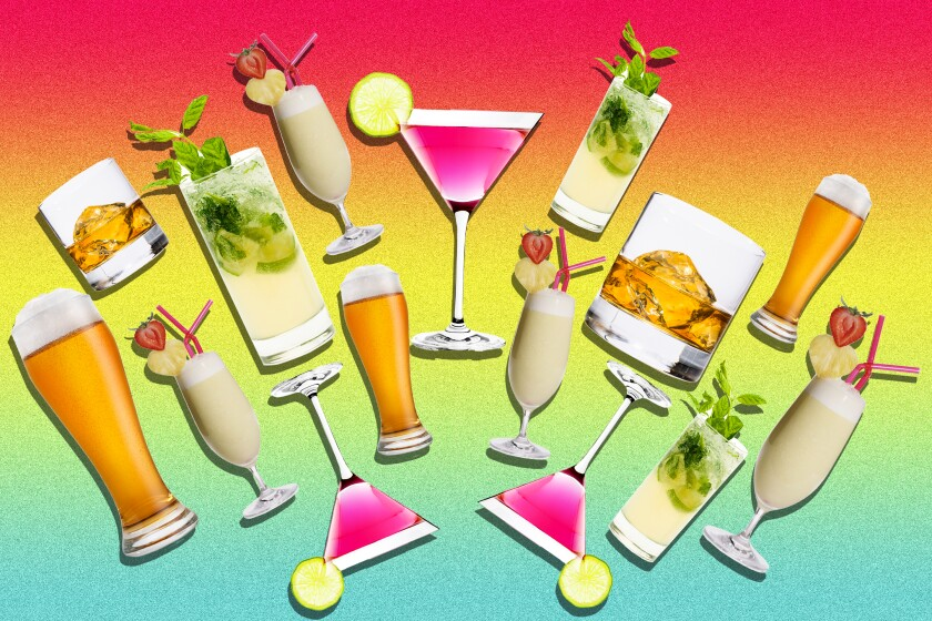 A photo illustration showing various cocktails.
