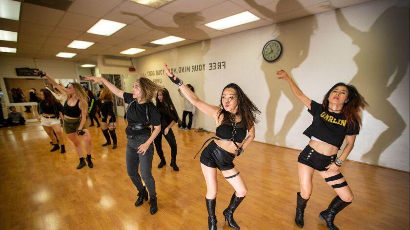 LOS ANGELES, CALIF. -- THURSDAY, JUNE 6, 2019: Dancers practice their moves during a K-Pop dance cl