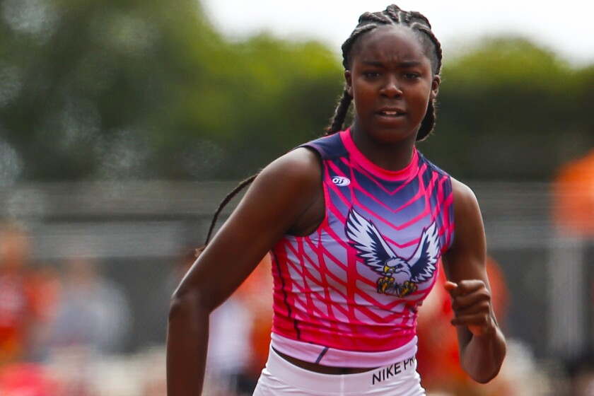Madison's Aysha Shaheed excels in the 100- and 200-meter races.