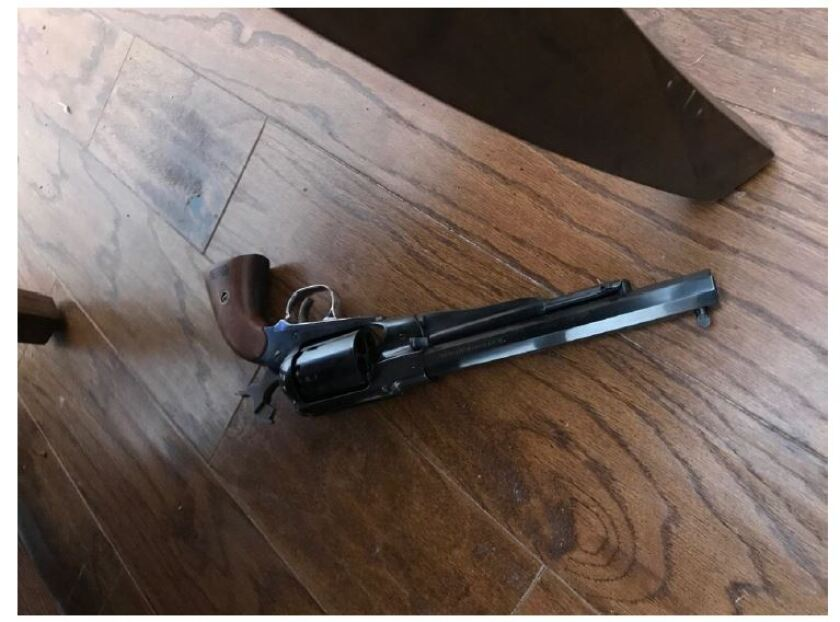 Sheriff's officials released this photo of a gun they said a suicidal man possessed during a confrontation with deputies at a home on Camino de las Palmas in Lemon Grove on Jan. 6, 2019.