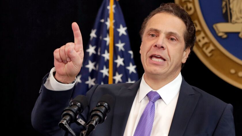FILE - In this Monday, Jan. 9, 2017, file photo, New York Gov. Andrew Cuomo delivers one of his Stat