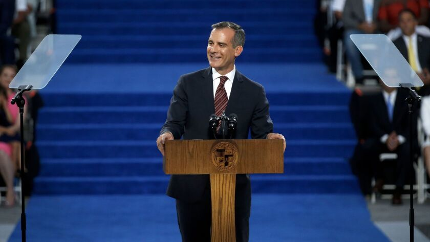 """Los Angeles Mayor Eric Garcetti was sworn in for a second term earlier this month. At his inauguration, he described the city's emergence from a recession that """"gutted"""" basic services."""