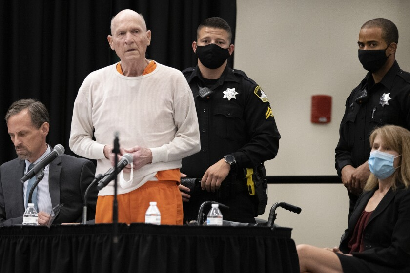 Joseph James DeAngelo Jr., known as the Golden State Killer, stands in court while apologizing to his victims.