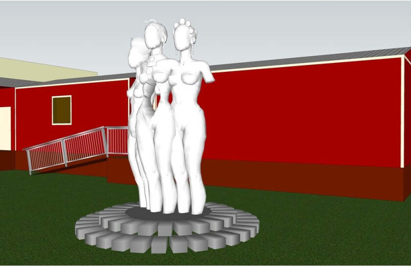 """A rendering for """"The Mothers of Gynecology"""" sculpture shows three nude women's bodies, without arms, on a pedestal."""