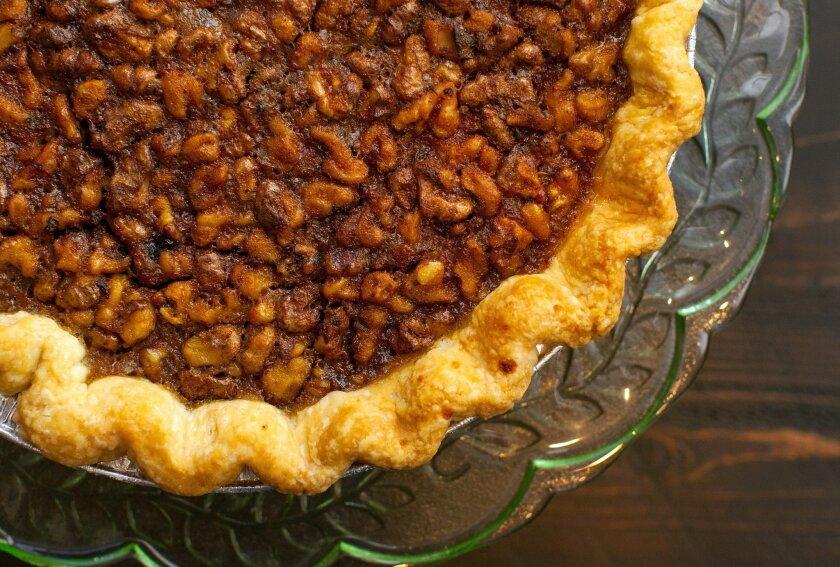 Tina Luu's Whiskey & Walnut Pie With Dark Chocolate.