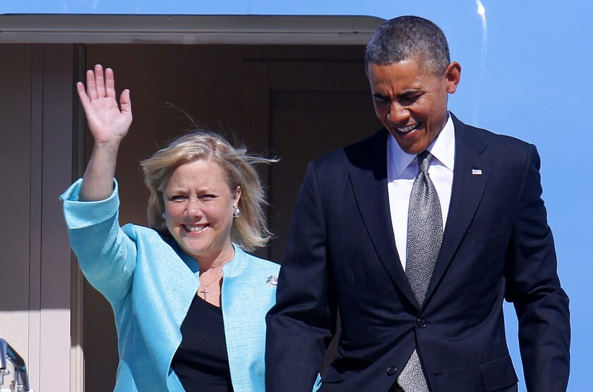 Sen. Mary L. Landrieu (D-La.) and President Obama arrive last month in New Orleans, where he encouraged more exports to create jobs. She has since distanced herself from the president and Obamacare.