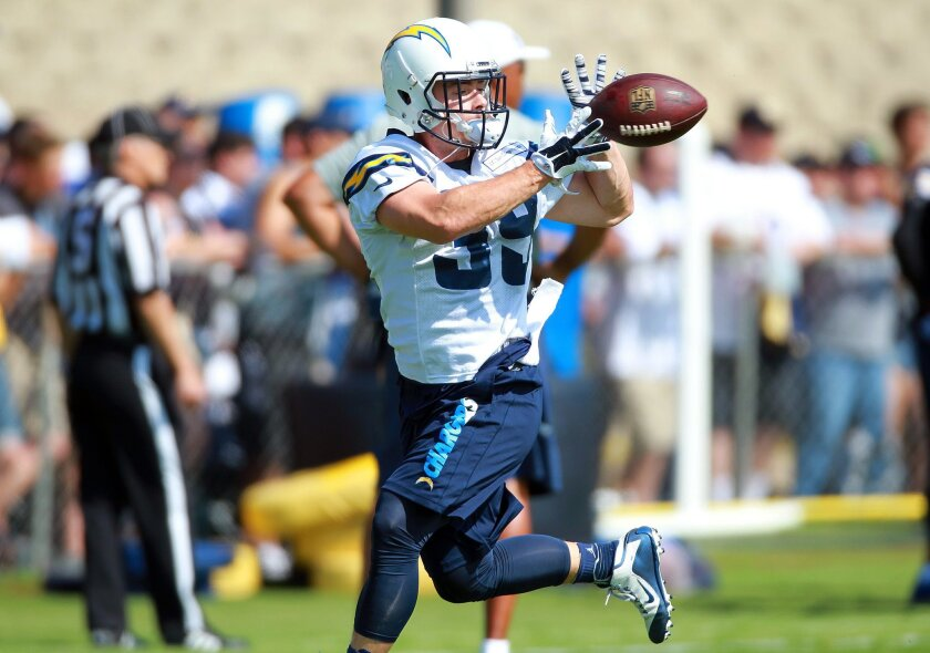 Chargers running back Danny Woodhead runs and catches on the field at Chargers Park on the first day of camp.