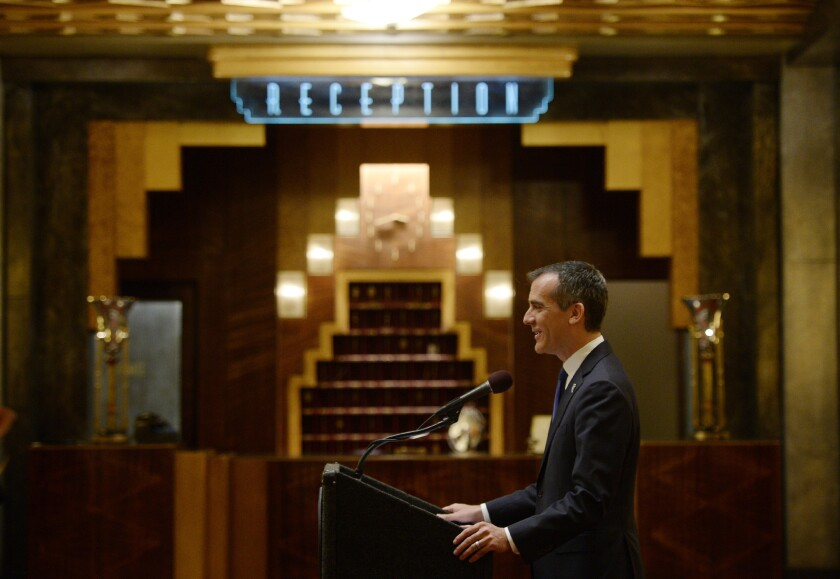 """L.A. Mayor Garcetti discusses state film tax credits on the set of """"American Horror Story: Hotel."""""""
