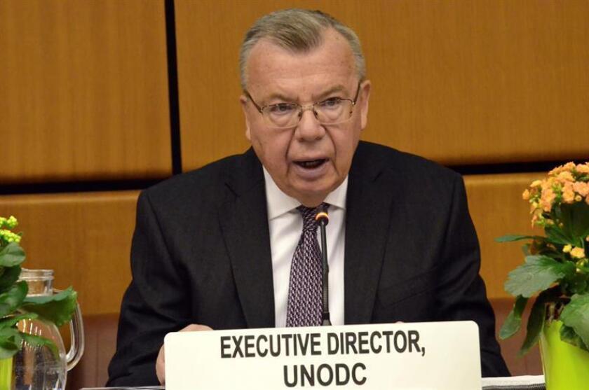 En la foto, director ejecutivo de la Oficia de Naciones Unidas contra la Doga y el Delito, Yuri Fedotov , durante su intervención en Austria el 7 de enero de 2019. EFE/Archivo