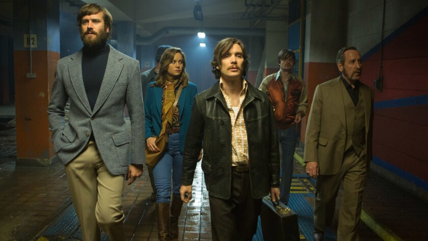 """Armie Hammer, Brie Larson, Cillian Murphy, Sam Riley and Michael Smiley in Ben Wheatley's """"Free Fire."""""""