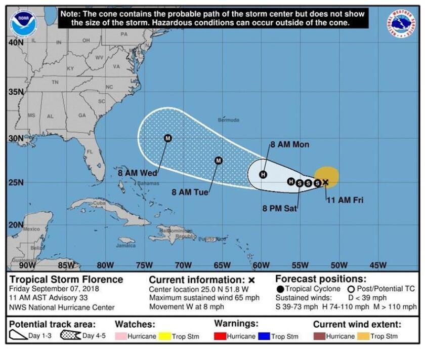 Imagen cedida el viernes 7 de septiembre de 2018, por el Centro Nacional de Huracanes (NHC) que muestra el pronóstico de cinco días de la tormenta tropical Florence, el primer huracán de categoría mayor que se formó en la actual temporada ciclónica del Atlántico. EFE/NHC/SOLO USO EDITORIAL/NO VENTAS