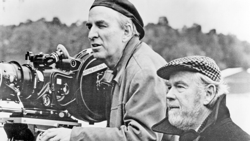 """Ingmar Bergman, left, lines up a shot with cinematographer, Sven Nykvist, for the 1982 film """"Fanny and Alexander."""""""