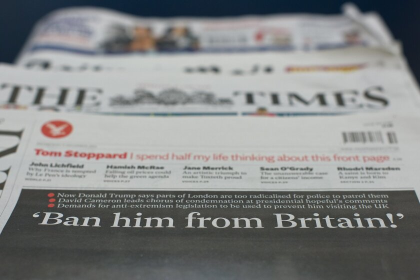 Newspaper front pages in London on Dec. 9, after Donald Trump called for a temporary ban on all Muslims entering the United States.