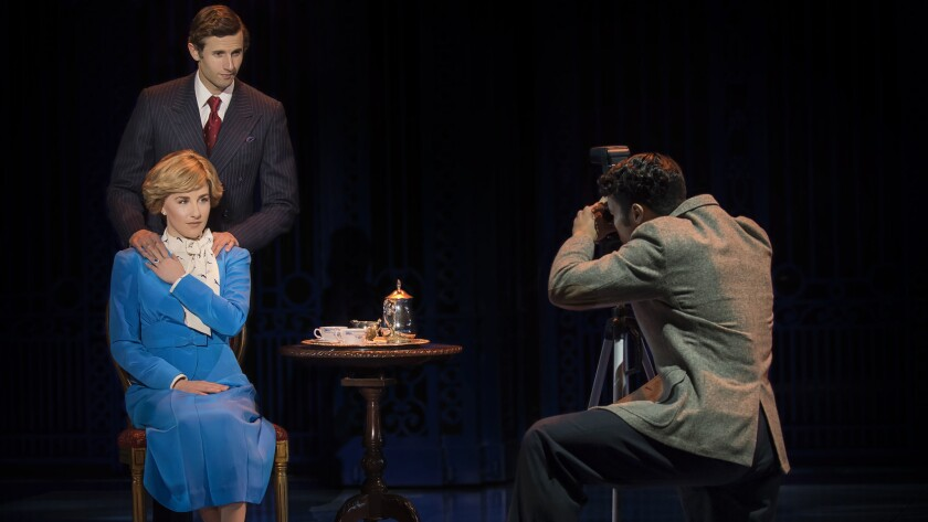 Jeanna de Waal, Roe Hartrampf and Tomas Matos in La Jolla Playhouse's world-premiere musical 'Diana' with   performances through April 14, 2019.