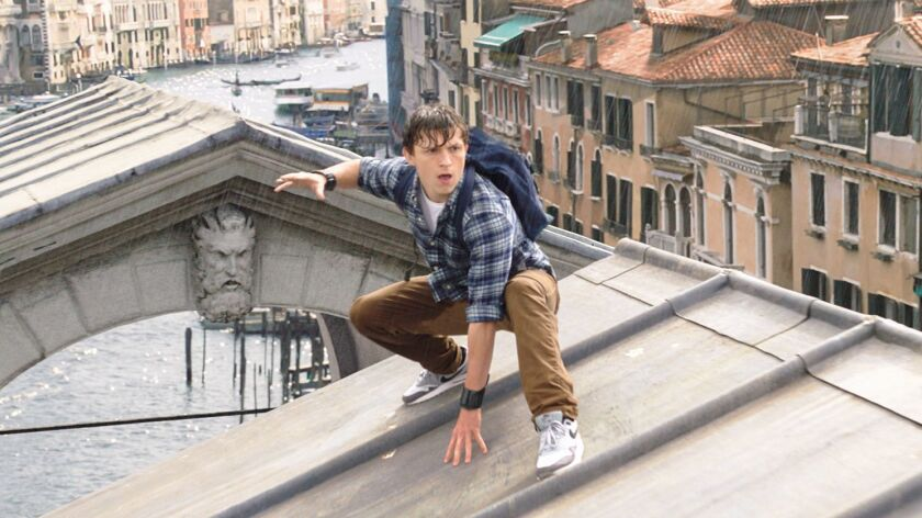 """Tom Holland is Peter Parker in Sony's """"Spider-Man: Far From Home."""" The film topped the box-office charts for the second consecutive weekend with $45.3 million in North American grosses."""