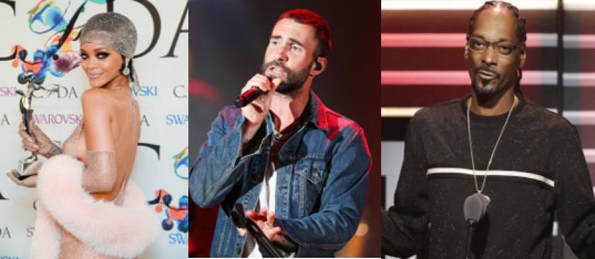 Rihanna, Adam Levine, Snoop Dogg