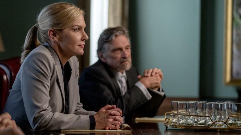 "Rhea Seehorn and Dennis Boutsikaris in ""Better Call Saul"" on AMC."