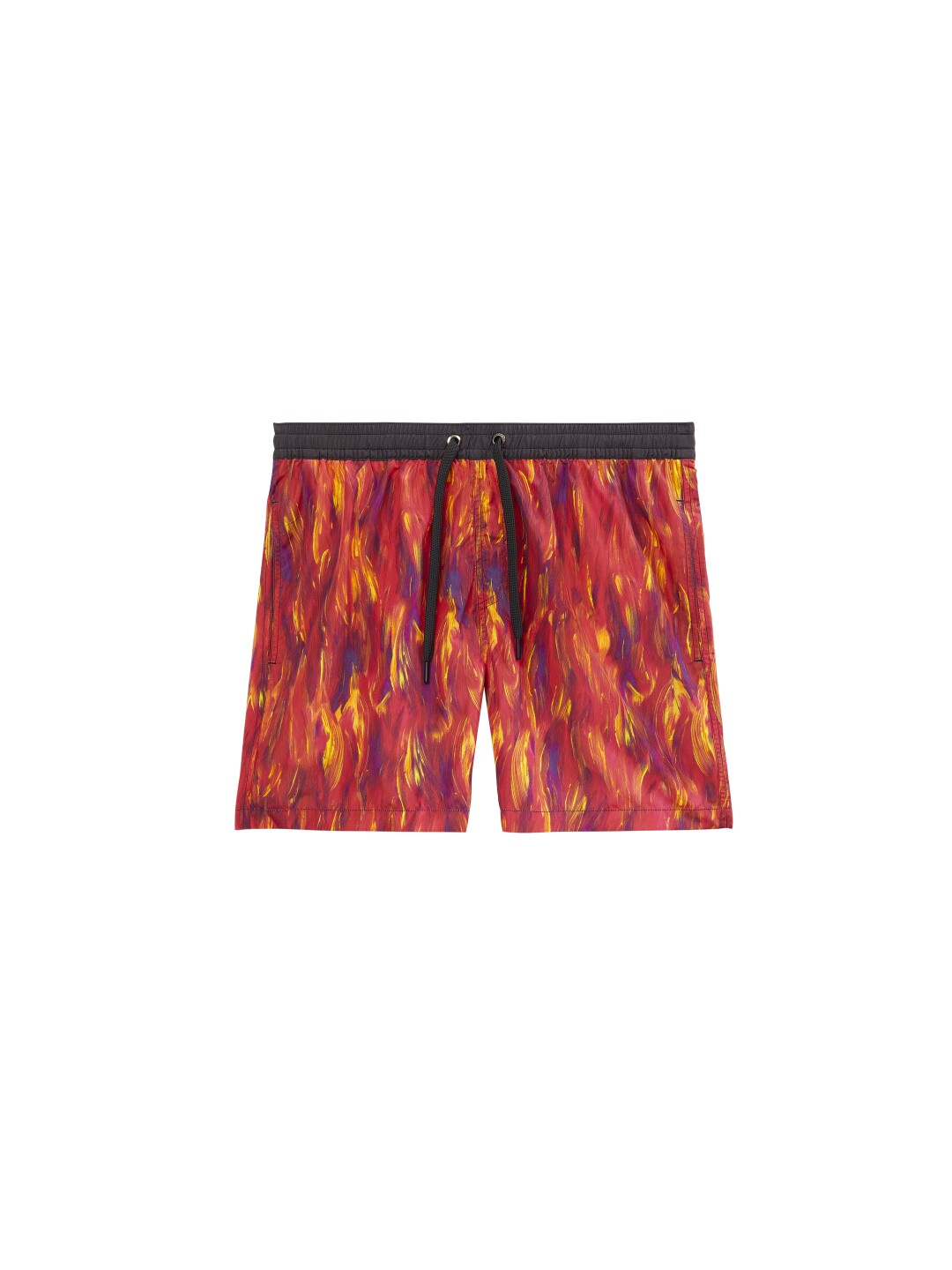 Swim trunks in an abstract fire print