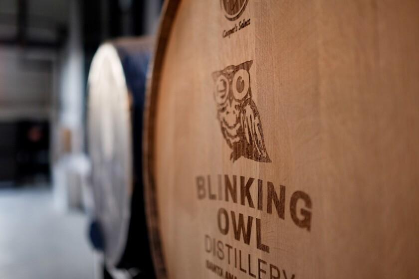 A barrel from Blinking Owl Distillery, opening in Santa Ana.