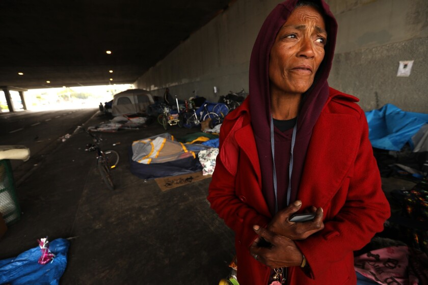 LOS ANGELES, CA - JUNE 4, 2019 - - Linda Miranda, 62, stands near her encampment where she lives wit