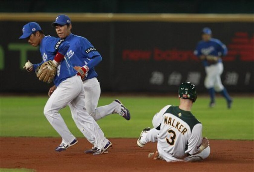 Australia's first baseman Mike Walker (3) is forced out at second base by Korea's second baseman Jeong Keunwoo, left,  and shortstop Kang Jungho in the first inning of their World Baseball Classic first round game at the Intercontinental Baseball Stadium in Taichung, Taiwan, Monday, March 4, 2013.