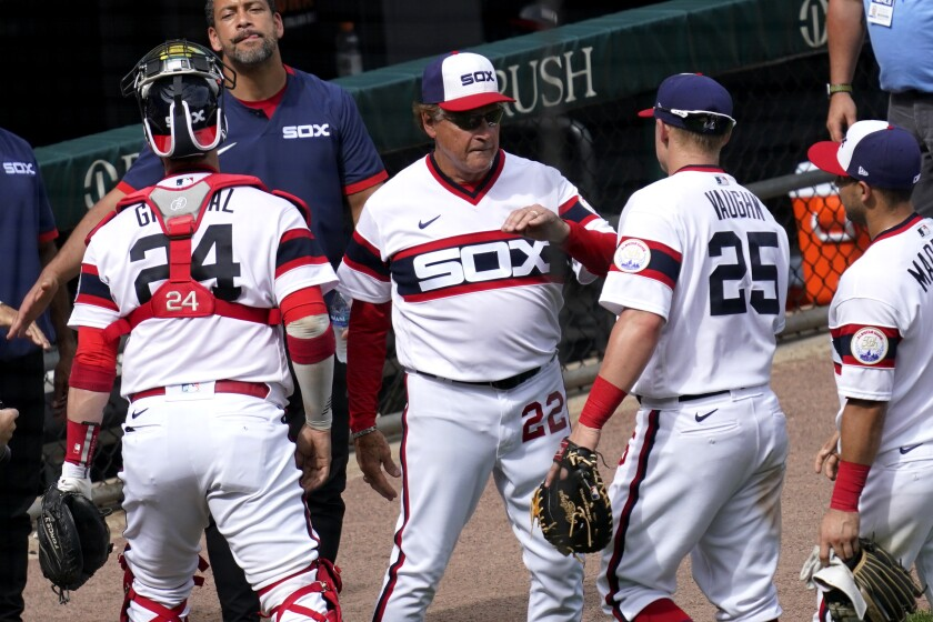 Chicago White Sox manager Tony La Russa (22) celebrates with his team after the Chicago White Sox defeated the Detroit Tigers in a baseball game in Chicago, Sunday, June 6, 2021. Tony La Russa is second on the managerial career wins list with 2, 764. (AP Photo/Nam Y. Huh)