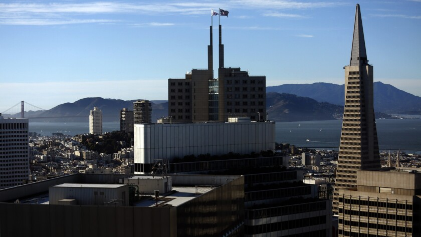 The view from Pamela Buttery's apartment inside the luxury Millennium Tower in San Francisco on October 21, 2016.
